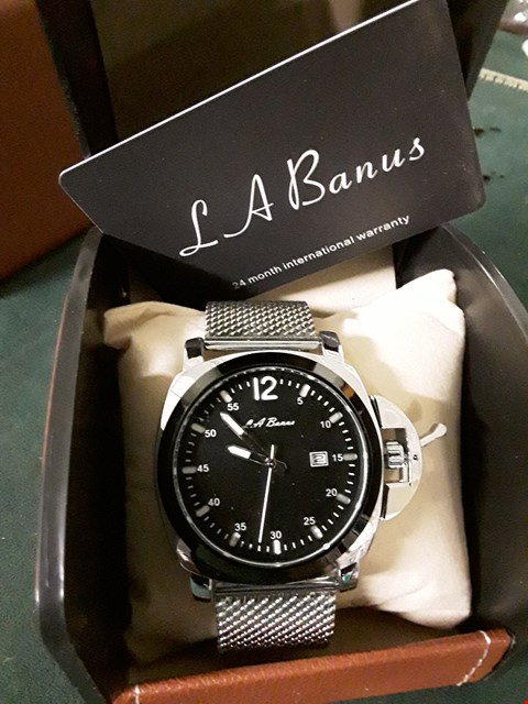 Lot 392 BOXED L A BANUS STEEL STRAP MEN'S WRIST WATCH
