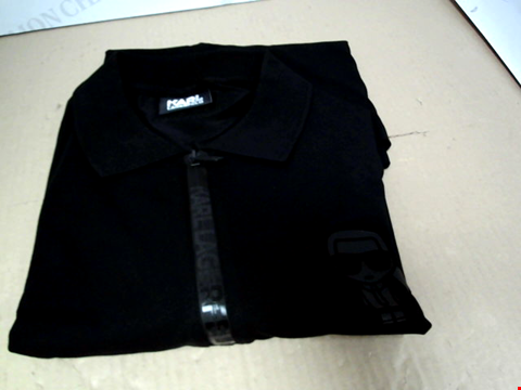 Lot 7165 KARL LAGERFELD IKONIK ZIP BLACK POLO SHIRT - SIZE MEDIUM