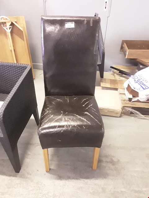 Lot 12174 DESIGNER BLACK FAUX LEATHER DINING CHAIR