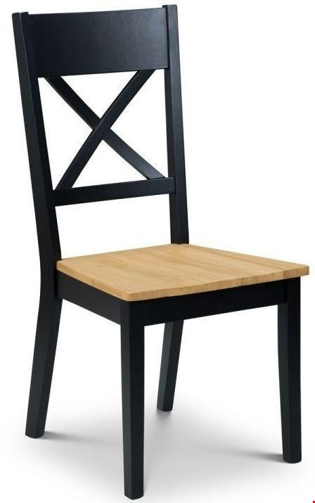 Lot 3528 BOXED HOCKLEY HASTING OAK AND BLACK SET OF 2 DINING CHAIRS RRP £129.99
