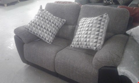 Lot 94 DESIGNER GREY FABRIC 2 SEATER RECLINER SOFA WITH CUSHIONS