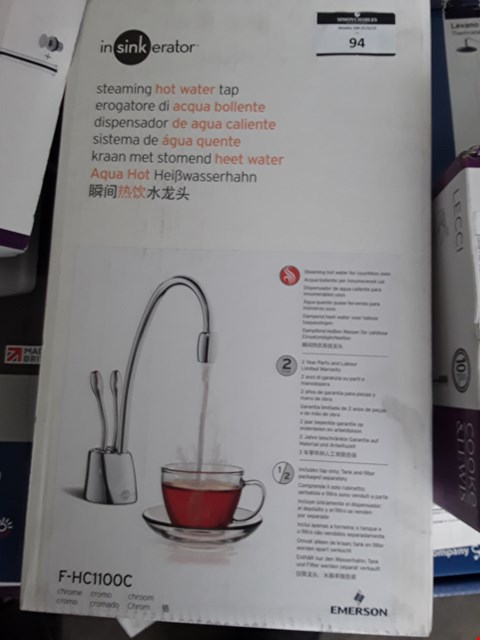 Lot 94 BOXED INSINKERATOR STEAMING HOT WATER TAP RRP £125