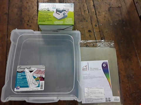 Lot 2864 BOX OF APPROXIMATELY 12 CRAFT ITEMS TO INCLUDE ARTBIN ESSENTIALS BOX WITH HANDLES, XYRON 600 REFILL CARTRIDGE AND CREATE AND CRAFT A4 PACK OF 15 HEAT RESISTANCE ACETATE SHEETS