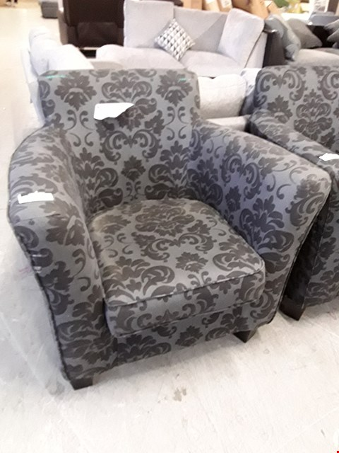 Lot 7024 DESIGNER CHARCOAL FLORAL PATTERN ARMCHAIR