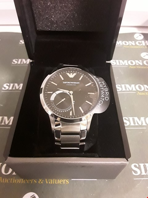Lot 2230 EMPORIO ARMANI CONNECTED SILVER STAINLESS STEEL HYBRID SMARTWATCH RRP £390.00