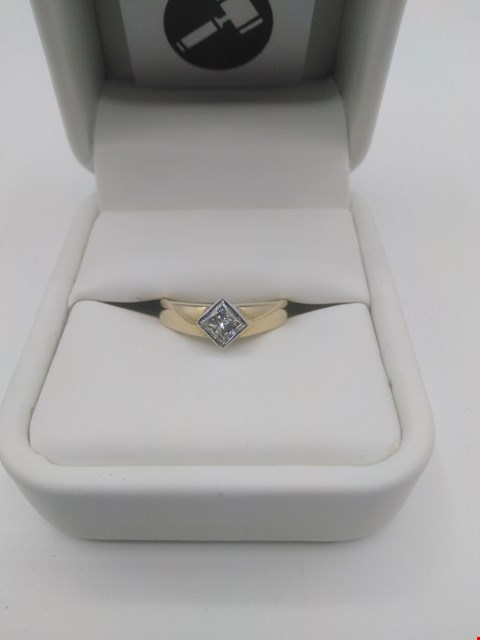 Lot 19 18CT GOLD RING RUBOVER SET WITH A PRINCESS CUT DIAMOND WEIGHING +0.51CT RRP £1600.00