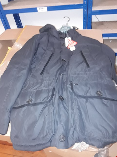 Lot 7 A BOX OF ASSORTED CLOTHING ITEMS TO INCLUDE 4 LACOSTE DARK GREY COATS SIZE 50 AND 1 BURGUNDY LACE PENCIL DRESS SIZE 10