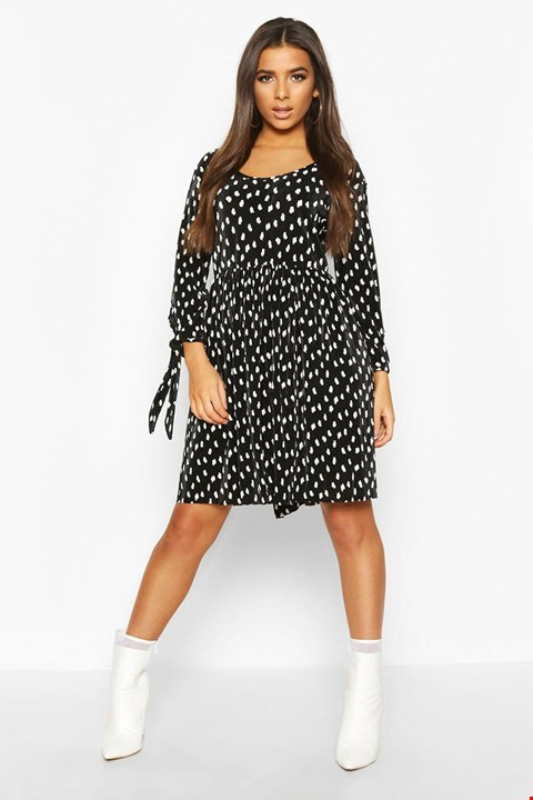 Lot 3670 BRAND NEW BOOHOO SPOTTED SLEEVED BLACK DRESS - SIZE 16