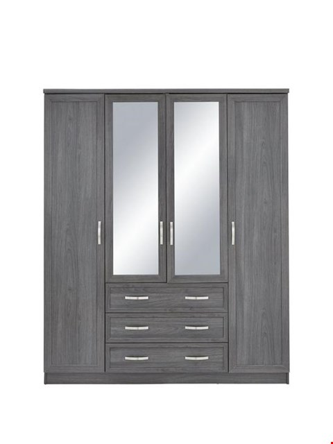 Lot 3023 BOXED GRADE 1 CAMBERLEY DARK OAK-EFFECT 4-DOOR 3-DRAWER MIRRORED WARDROBE (2 BOXES) RRP £359.00