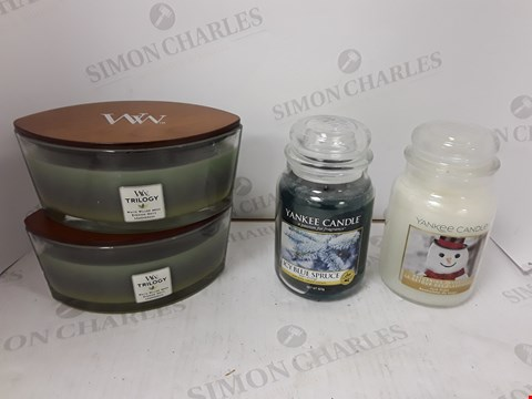 Lot 875 LOT OF 4 ASSORTED JAR CANDLES TO INCLUDE YANKEE CANDLE AND WOODWICK
