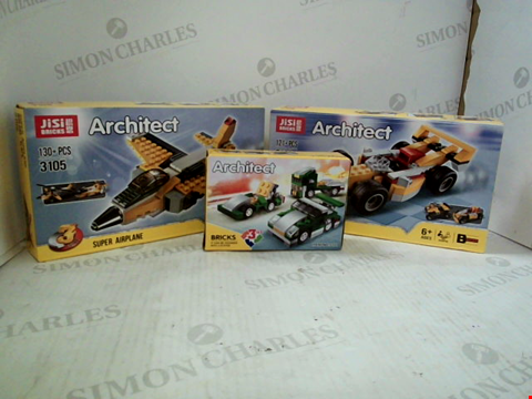 Lot 3022 3 BOXED JIJI BRICKS ARCHITECT ITEMS TO INCLUDE; MINI SPORTS CAR, SUPER RACER AND SUPER AIRPLANE