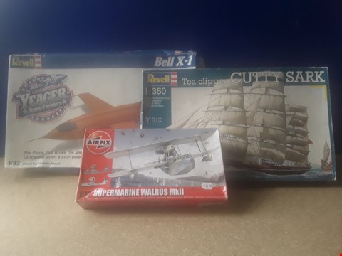 Lot 5022 THREE BOXED MODEL KITS, INCLUDING REVELL CUTTY SARK, AIRFIX SUBMARINE WALRUS MKII AND REVELL YEAGER SUPERFIGHTER BELL X-1