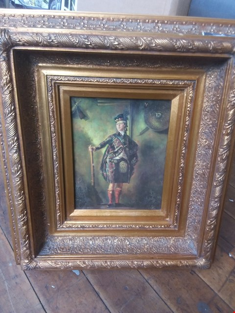 Lot 11013 VINTAGE SCOTTISH HUNTER - PAINTING IN DECORATIVE GOLD PAINTED FRAME (APPROX 46X51CM)