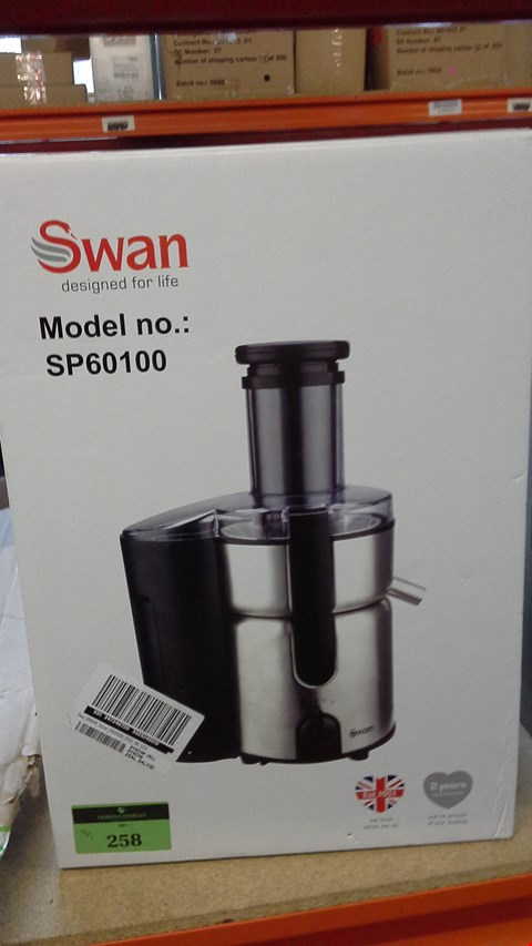 Lot 258 BOXED SWAN JUICER SP60100 RRP £50.00
