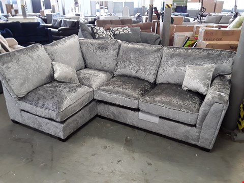 Lot 360 DESIGNER SILVER CRUSHED VELVET CORNER SOFA