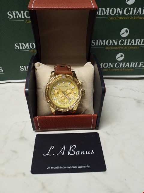 Lot 4564 L. A BANUS GOLD EFFECT WIRE CASE CHRONOGRAPH WATCH WITH BROWN LEATHER WRIST STRAP