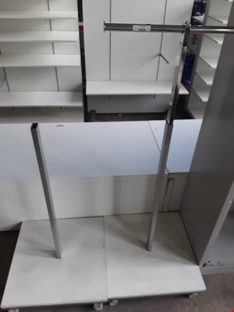 Lot 2059 TWO SINGLE HEIGHT ADJUSTABLE GARMENT DISPLAY UNITS ( 1 MISSING HANGING RAIL )
