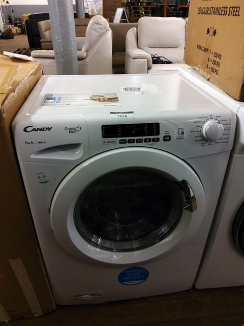 Lot 7070 CANDY GRAND'O VITA GVS169D3 9KG LOAD, 1300 SPIN WASHING MACHINE - WHITE RRP £399.99