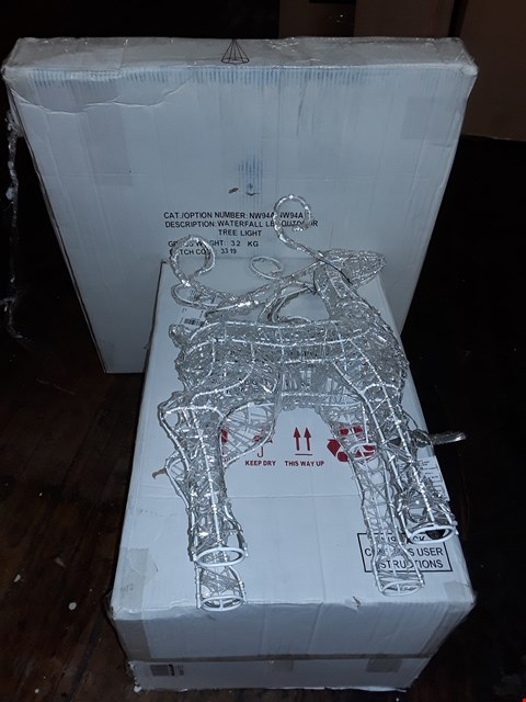 Lot 4121 LOT OF 4 BOXED GRADE 1 CHRISTMAS DECORATIONS TO INCLUDE WATERFALL LED OUTDOOR TREE LIGHT AND SPUN ACRYLIC STANDING REINDEER