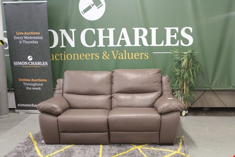 Lot 10016 DESIGNER BROWN ITALIAN LEATHER RECLINING 2 SEATER SOFA WITH CONTRAST DETAIL STITCHING