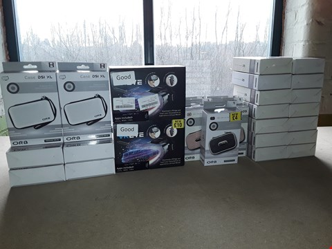 Lot 9032 BOX OF 27 ASSORTED BRAND NEW ITEMS TO INCLUDE: VREYE HEADSETS, DSI XL CASES, ORB DSI/DS LITE CASES