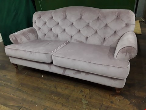 Lot 2099 QUALITY BRITISH DESIGNER VALERIE BUTTONED BACK ROSE VELVET THREE SEATER SOFA