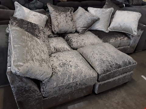 Lot 91 DESIGNER CRUSHED SILVER VELVET CHAISE SOFA WITH SCATTER CUSHIONS & MATCHING FOOTSTOOL