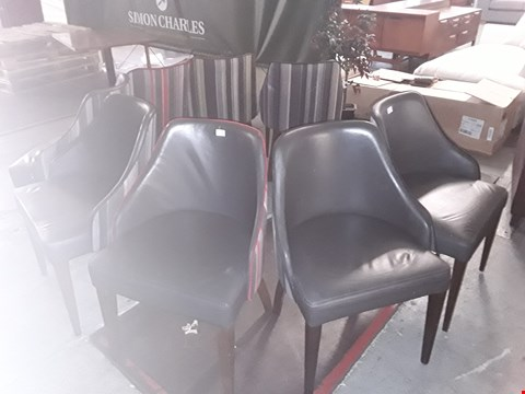 Lot 88 APPROXIMATELY 8 GREY LEATHER CHAIRS WITH STRIPED FABRIC BACK