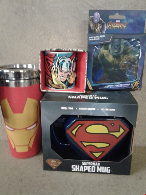 Lot 499 4 BRAND NEW ITEMS TO INCLUDE  PACK OF COASTERS , MARVEL COMICS MINI MUG , IRON MAN TRAVEL MUG AND A SUPERMAN SHAPED MUG