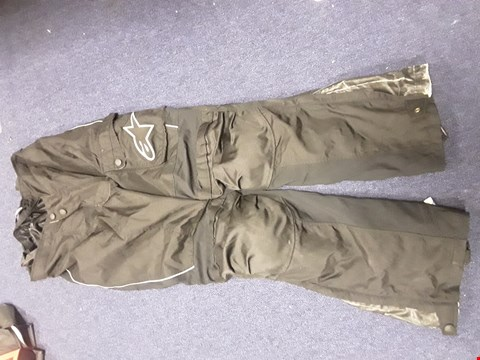 Lot 4306 PAIR ALPINESTARS BLACK MOTORCYCLE TROUSERS SIZE UNSPECIFIED