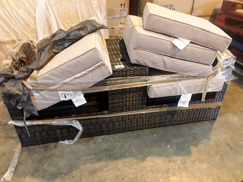 Lot 2096 GREY RATTAN EFFECT SEAT UNIT WITH CUSHIONS