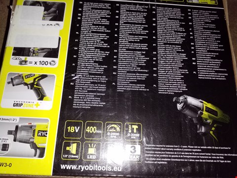 Lot 12716 RYOBI 18V SPEED IMPACT WRENCH