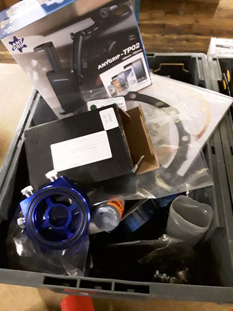 Lot 3077 BOX ASSORTED CAR CARE PRODUCTS, INCLUDING PRIMER PAINT, PHONE HOLDERS, GASKETS, OIL COOLER FILTER TAKE OFF,