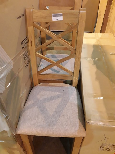 Lot 463 PAIR OF DESIGNER OAK DOUBLE X BACK DINING CHAIRS BLUSH FABRIC SEATS