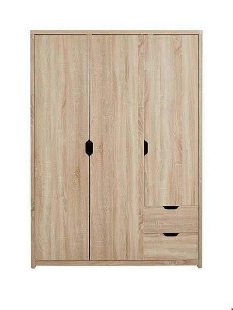Lot 7075 BOXED GRADE 1 ASPEN 3 DOOR + 2 DRAWER WARDROBE OAK - 2 BOXES