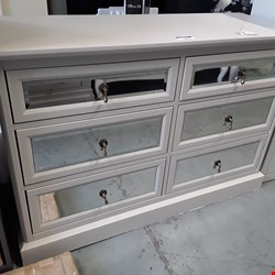Lot 1013 DESIGNER RITZ LIGHT GREY/MIRRORED 6 DRAWER CHEST