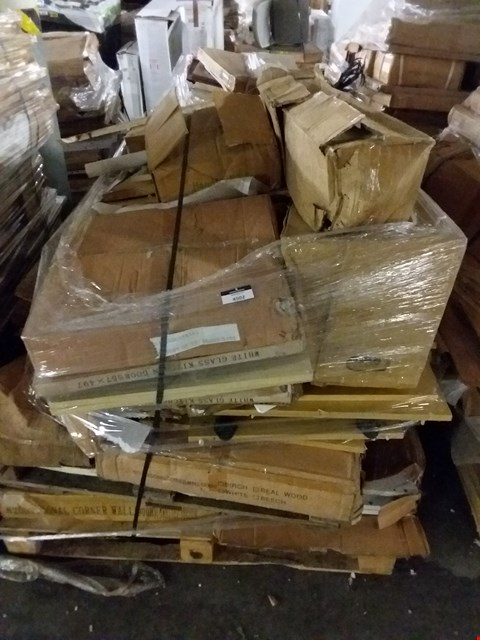 Lot 595 PALLET OF ASSORTED FLAT PACK FURNITURE PARTS TO INCLUDE DOORS, UNITS, DRAWERS ETC