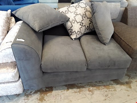 Lot 52 GREY FABRIC TWO SEATER SECTION WITH SCATTER CUSHIONS