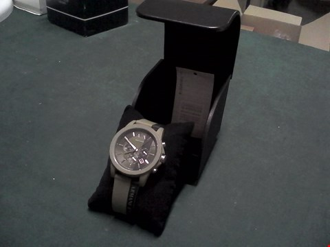 Lot 1545 BOXED ARMANI EXCHANGE GREEN AND BLACK SILICONE WATCH RRP £159