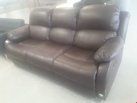 Lot 65 DESIGNER ANTON BROWN FAUX LEATHER MANUAL RECLINING THREE SEATER SOFA RRP £559.99