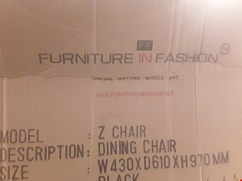Lot 374 DESIGNER BOXED Z DINING CHAIRS