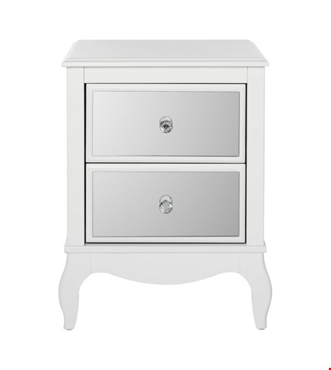 Lot 342 AMELIE MIRRORED TWO DRAW BEDSIDE TABLE WHITE