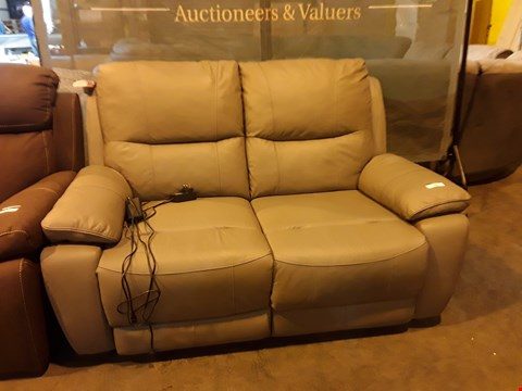 Lot 9063 DESIGNER GREY LEATHER POWER RECLINING TWO SEATER SOFA