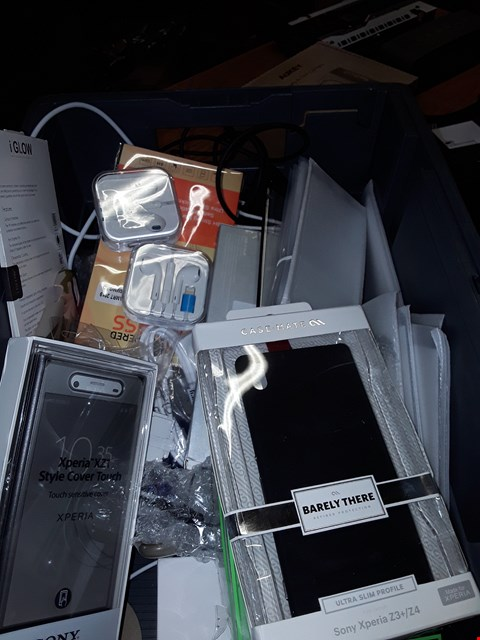 Lot 396 A BOX OF APPROXIMATELY 20 ASSORTED ITEMS TO INCLUDE,  ASSORTED PHONE CASES AND EARPHONES ETC
