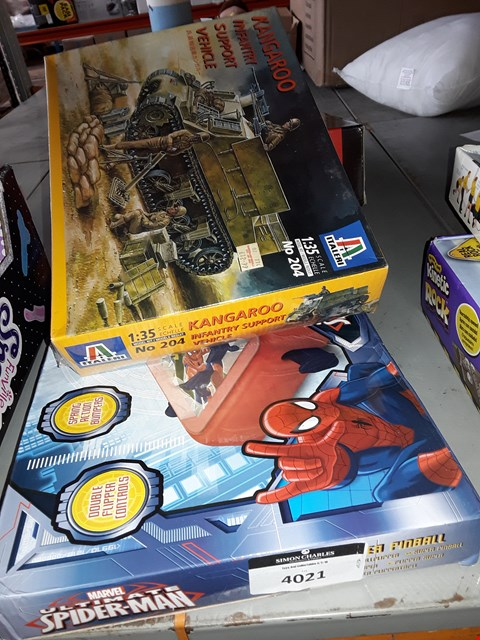 Lot 2148 KANGAROO INFANTRY SUPPORT VEHICLE MODEL,  DRINKING ROULETTE SET AND ULTIMATE SPIDER MAN PIN BALL GAME