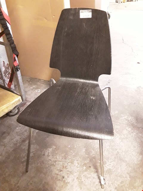 Lot 17034 DESIGNER BLACK WOOD-EFFECT CHAIR WITH METAL FRAME