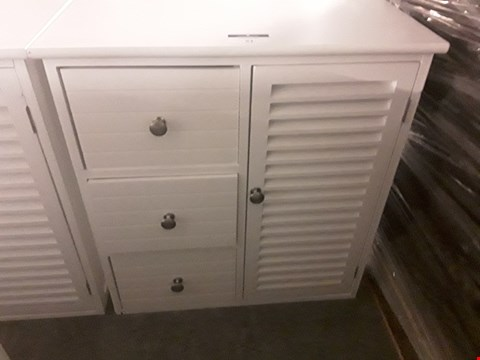 Lot 51 DESIGNER WHITE CUPBOARD WITH 3 DRAWERS & LOUVERED CUPBOARD