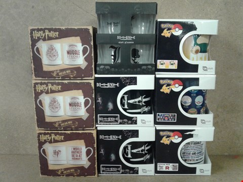 Lot 471 9 BRAND NEW CUPS MUGS AND SHOT GLASSES POKEMON, DEATHNOTE AND HARRY POTTER