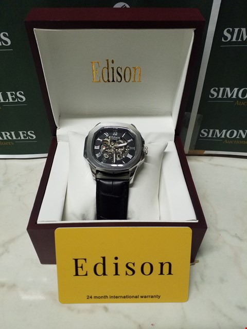 Lot 4554 EDISON ROMAN NUMERAL STAINLESS STEEL DIAL SKELETON WATCH WITH BLACK LEATHER WRIST STRAP