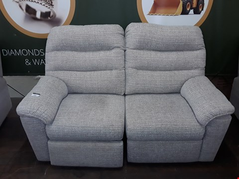 Lot 8008 QUALITY DESIGNER BRITISH MADE WOODEN FRAME GREY/WHITE FABRIC ELECTRIC RECLINING 2 SEATER SOFA